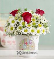 hoş geldin bebek vazolu papatya ve güller