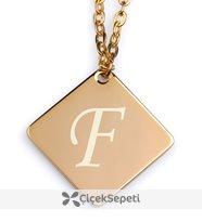 kişiye özel harf yazılı yan kare gold kolye