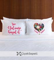 vegülümsüyorum - kişiye özel aşk ve motto temalı çift yastık kılıfı