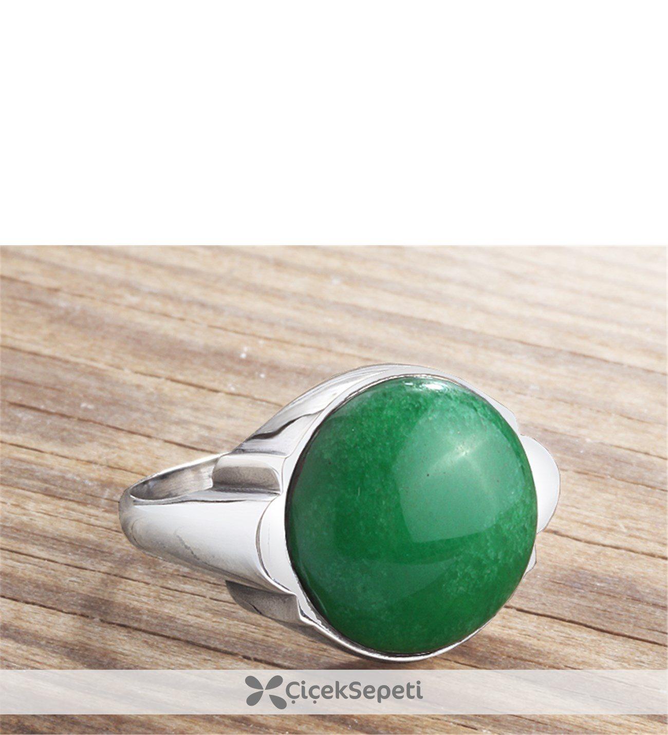 925 Ayar Yeşil Akik Taşlı Gümüş Erkek Yüzük 59159