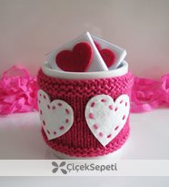 çikolatalı pembe kalpli kupa