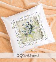 canan barış - çiçek desenli romantik yastık