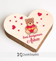 yunus parlar - seni seviyorum aşkım çikolatalı ahşap kalp kutu