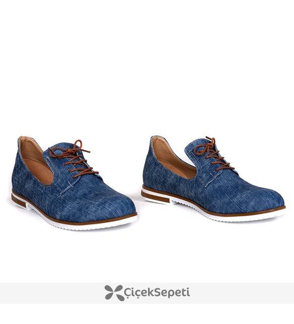 Miss belinda mavi kot bağcıklı ortopedik bayan babet ayakkabı