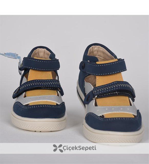 Mavi Sarı Cırtlı Ortopedik Sandalet Ayakkabı 3056