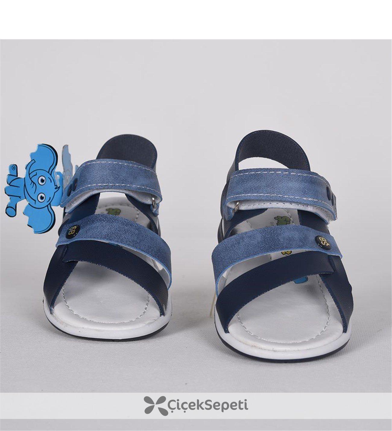 Lacivert Mavi Cırtlı Ortopedik Sandalet Ayakkabı 3058