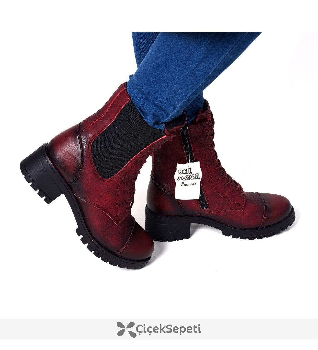 10003 Bordo Bağcıklı Fermuarlı Kışlık Günlük Bot Ayakkabı 3672
