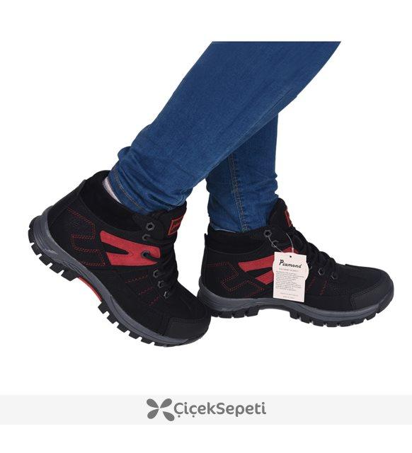 Pinokyo 10022 Siyah Bağcıklı Kışlık günlük Bot Ayakkabı