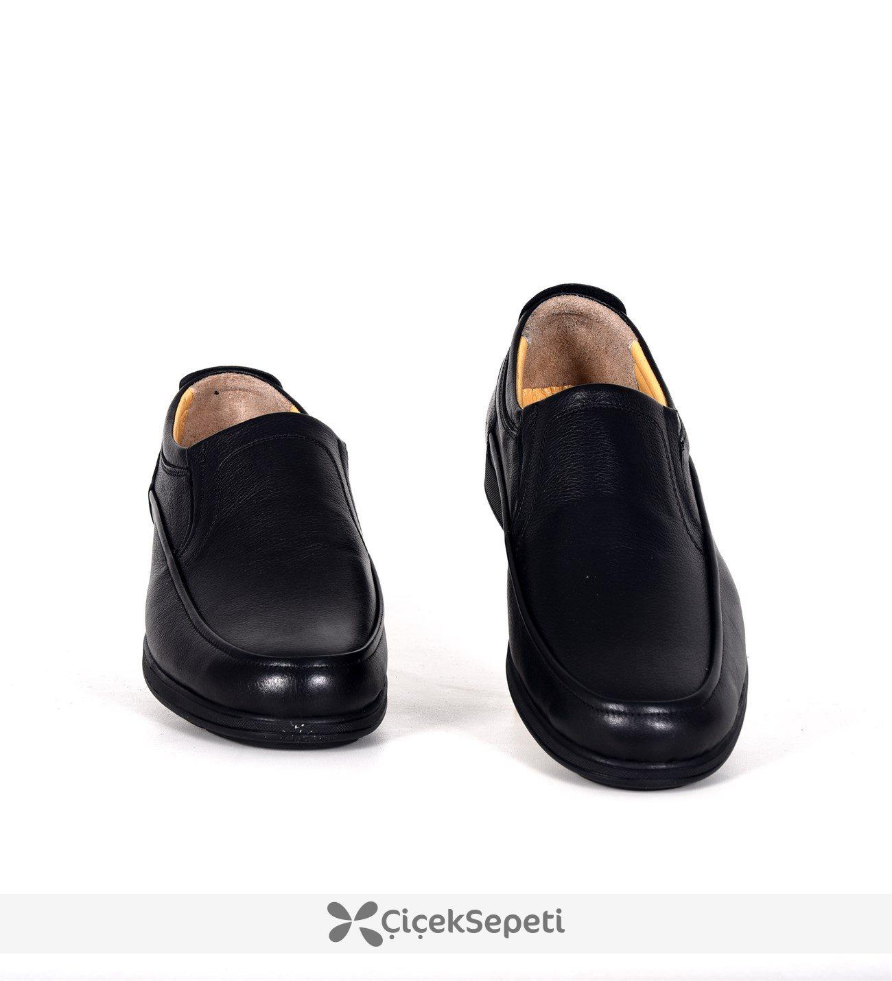 Slope siyah deri su geçirmez kışlık günlük erkek bot ayakkabı