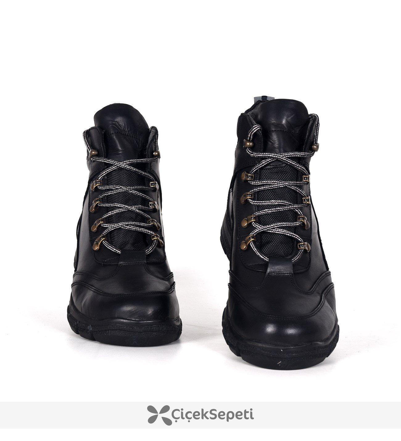 Siyah Bağcıklı Deri Kışlık Günlük Erkek Uzun Bot Ayakkabı 3687