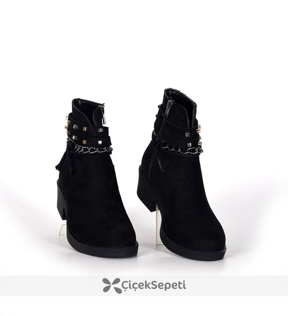 Siyah Bayan Fermuarlı Zincirli Kışlık Bot Ayakkabı 3704