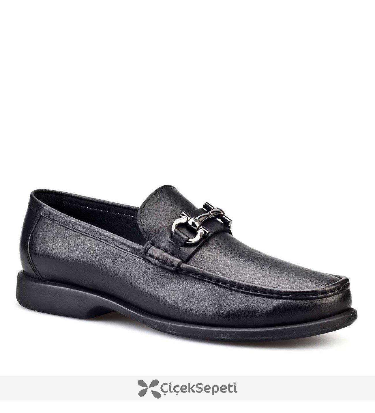 Cabani Tokalı Günlük Erkek Ayakkabı Siyah Flap Deri