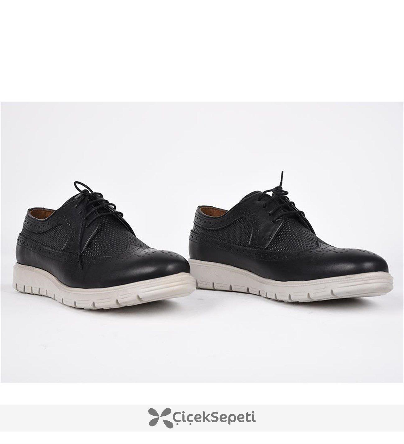 Scott men siyah deri bağcıklı ortopedik günlük ayakkabı