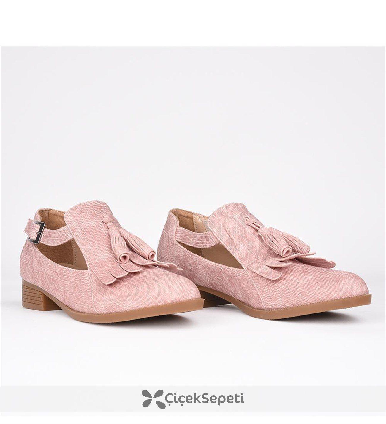Florin pembe tokalı püskülü ortopedik termo taban kadın ayakkabı