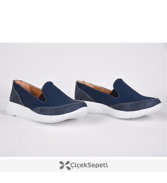 Teceras mavi lastikli ortopedik günlük yürüyüş bayan Ayakkabı