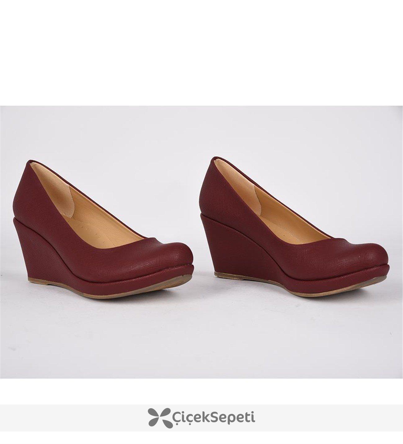 Teceras bordo yüksek topuk günlük bayan babet ayakkabı