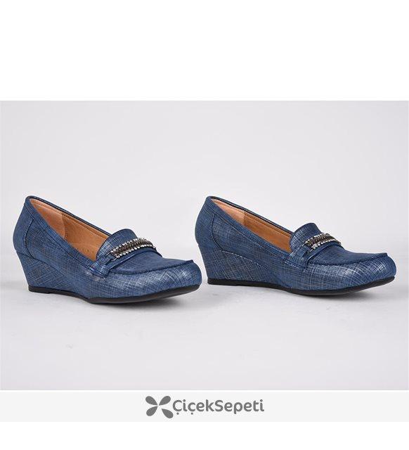 Teceras mavi çizgili tokası taşlı ortopedik günlük kadın ayakkabı