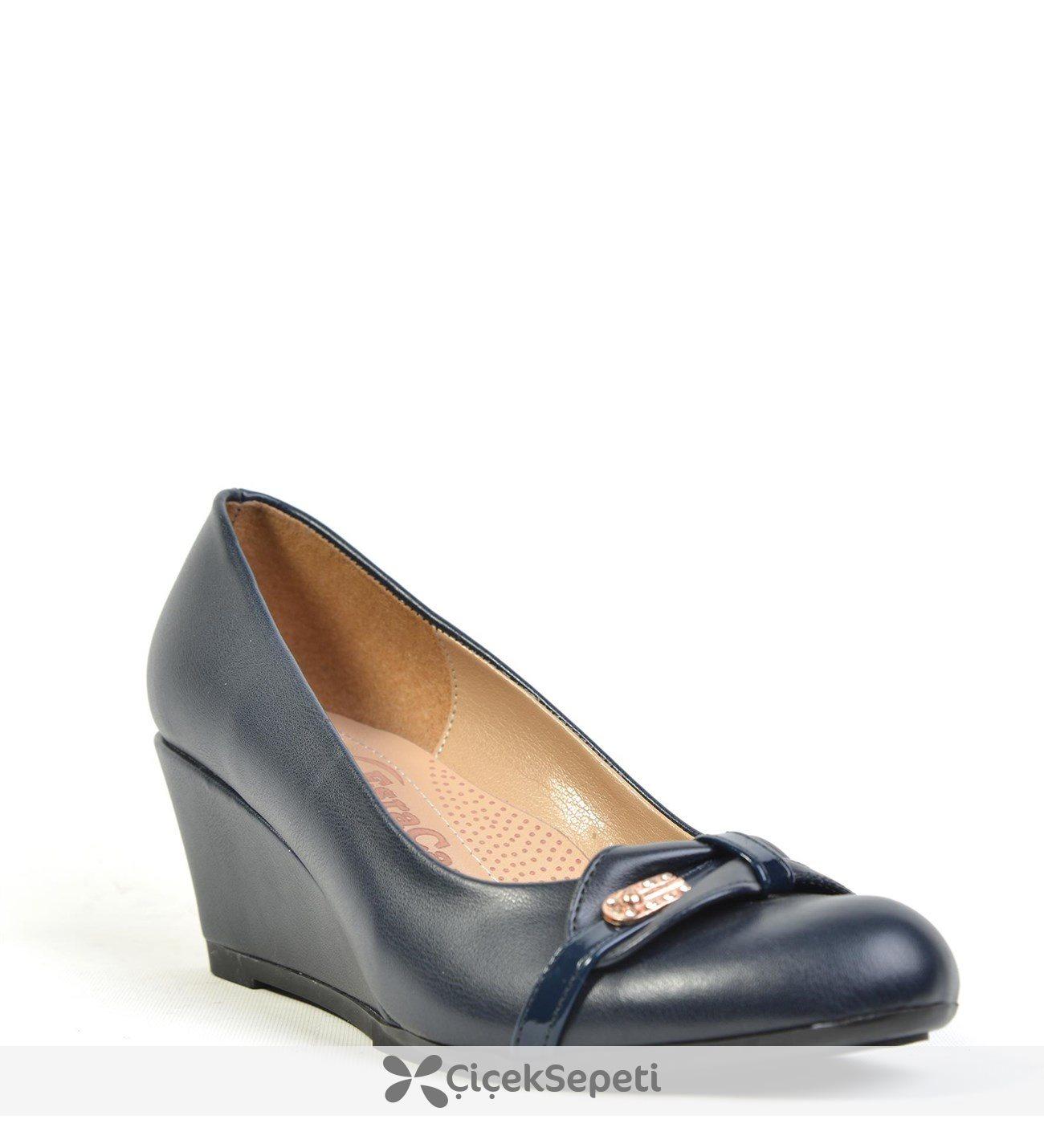 Esracan %100 Deri Ortopedik Dolgu Topuk Günlük Bayan Ayakkabı