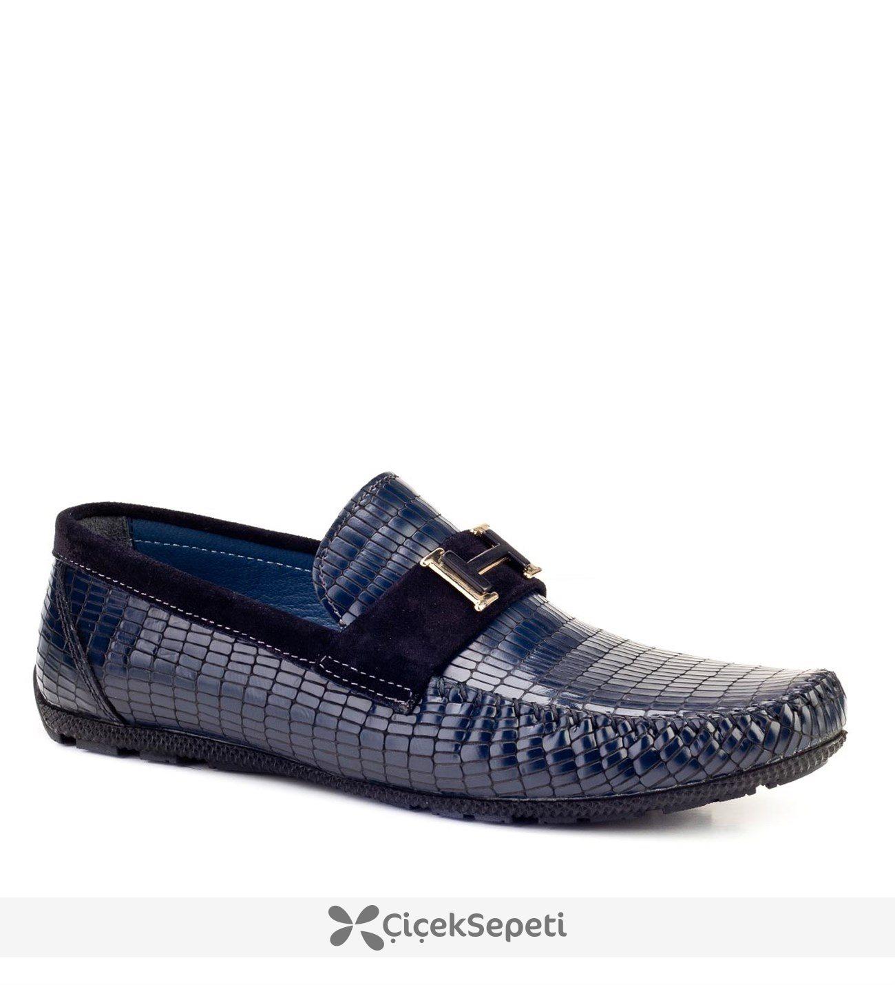 Cabani Tokalı Loafer Günlük Erkek Ayakkabı Lacivert Rugan