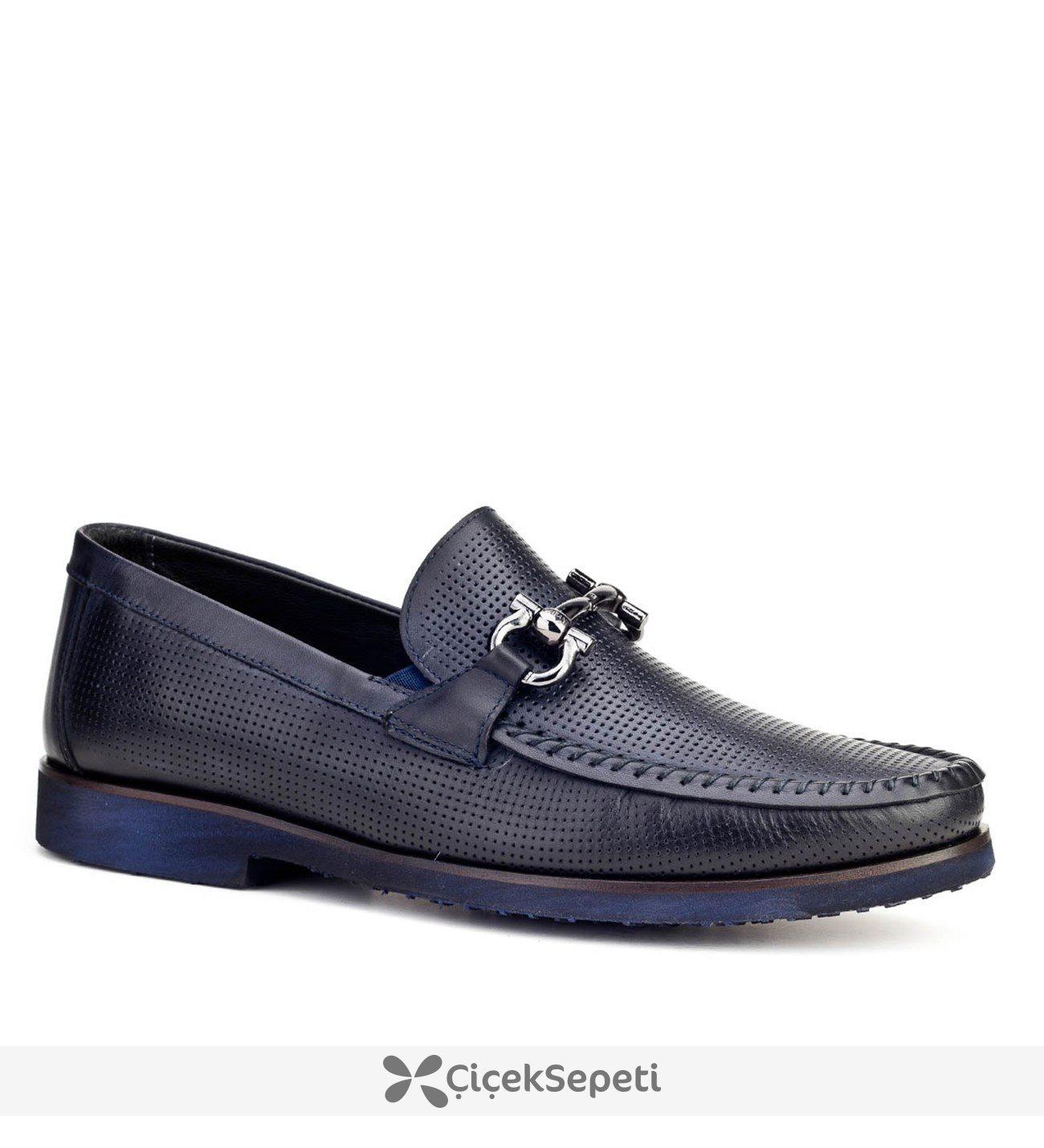 Cabani Lazerli Günlük Erkek Ayakkabı Lacivert Antik Deri