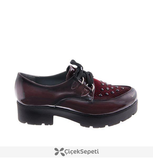 Bovika Bordo Rugan Taşlı  Ayakkabı 878