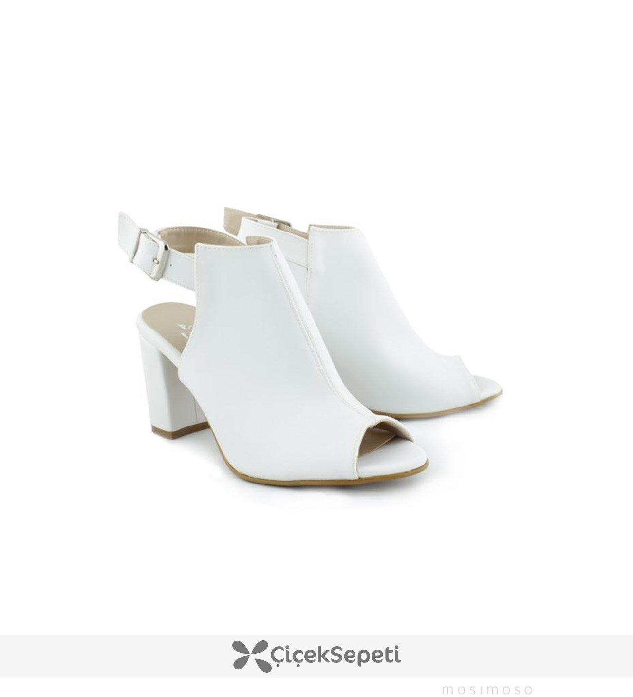 Mosimoso Beyaz Platform Topuk Bilek Bağlı Ayakkabı 5162