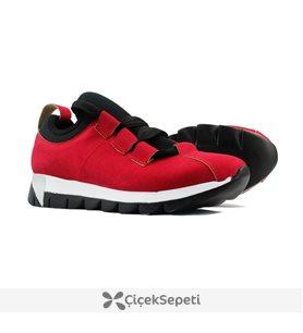 Kırmızı Renk Bağcık Detaylı Bayan Günlük Ayakkabı 6844