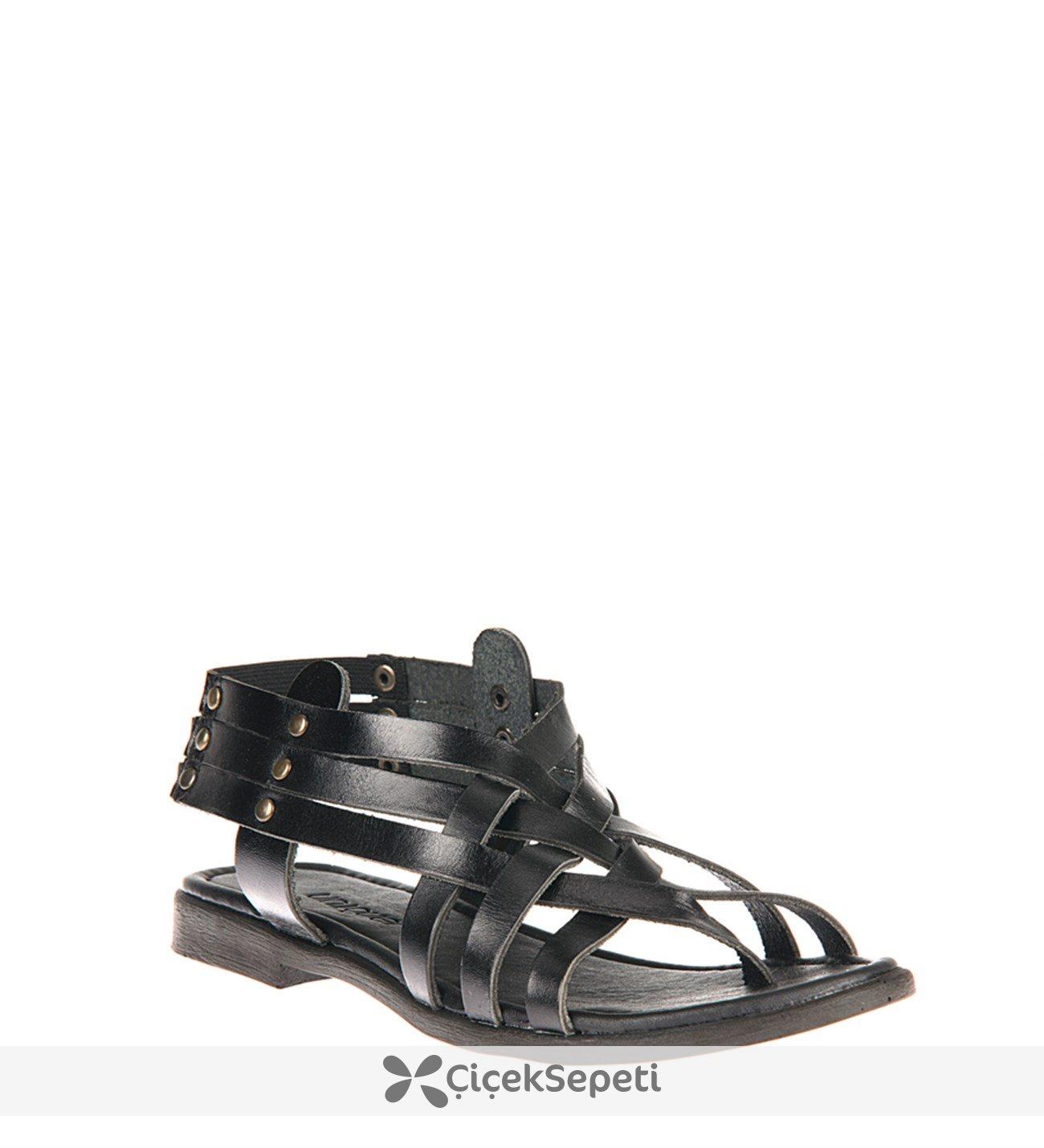 Uniquer 81354U 105 Siyah Kadın Hakiki Deri Sandalet