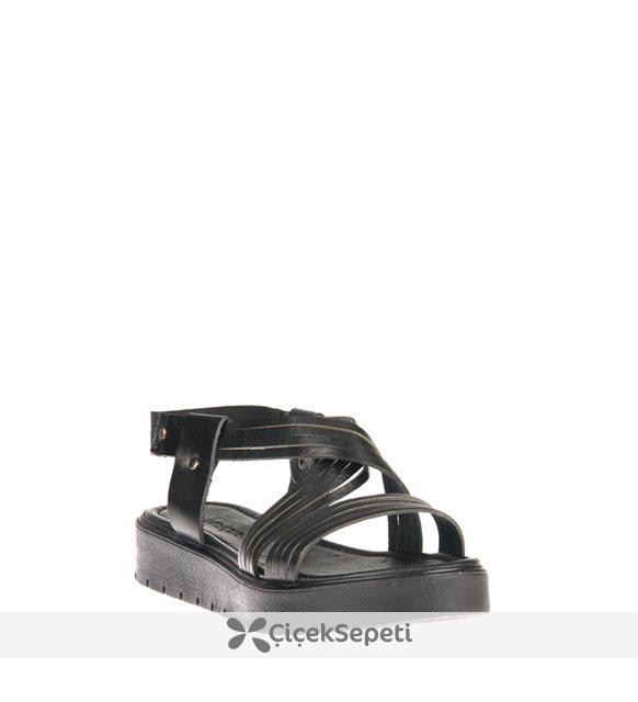 Uniquer Kadın Hakiki Deri Sandalet 81354U 322 Taba
