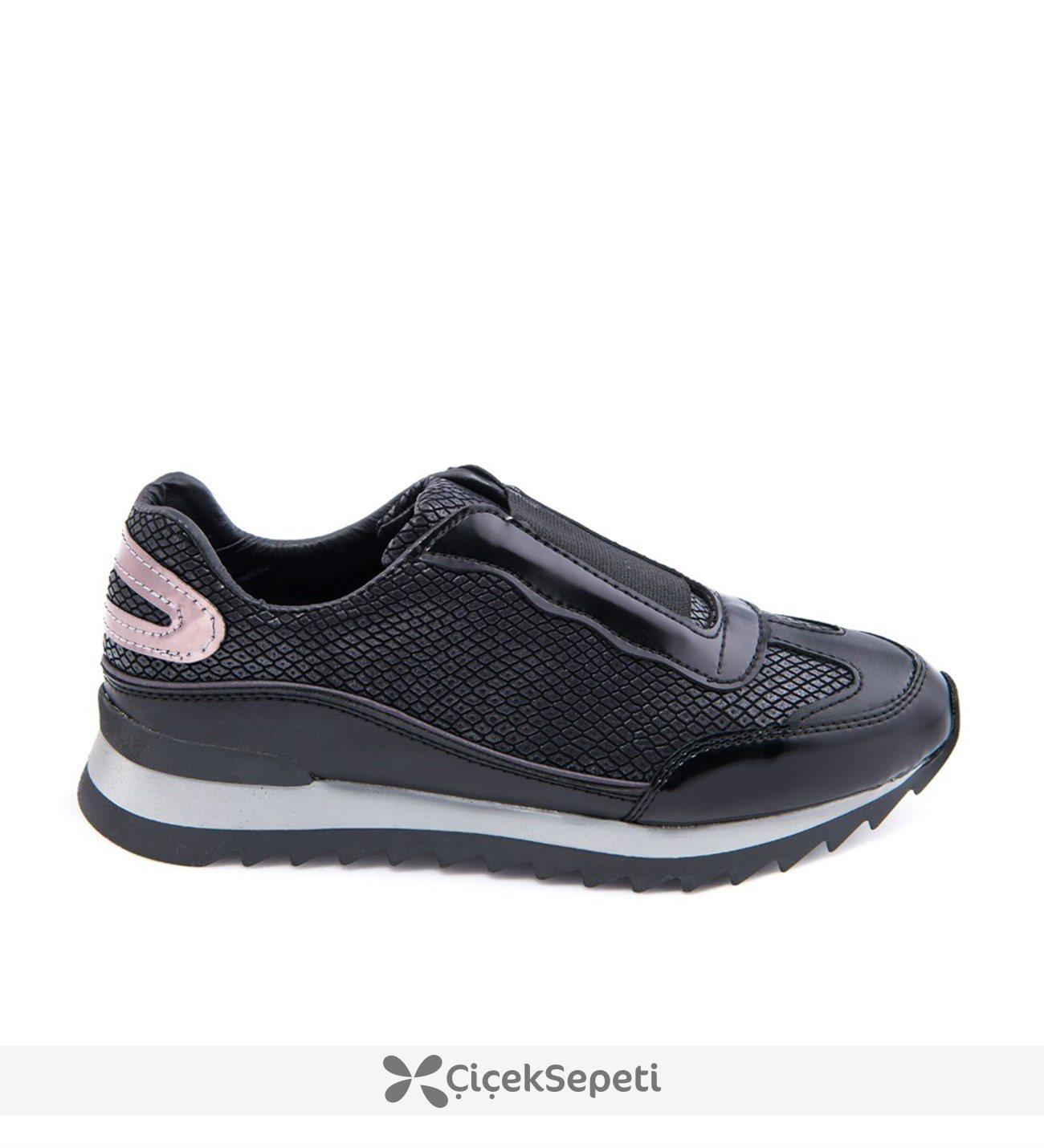 Siyah Lastikli Rahat Bayan Spor Sneaker Ayakkabı 959