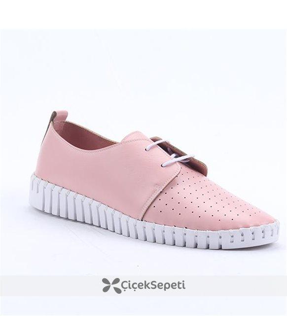 Cudo 30594 Günlük Ortopedik Dikişli Bayan Spor Babet Ayakkabı Pudra