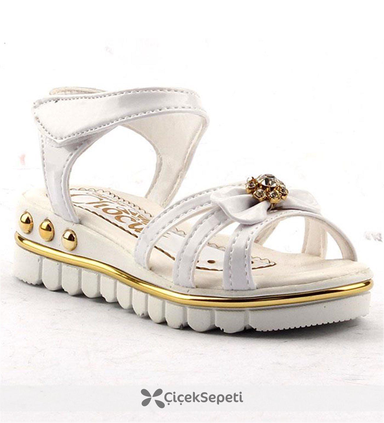 Jasmine 340 Günlük Cırtlı Abiye Kız Çocuk Yazlık Sandalet Ayakkabı Beyaz
