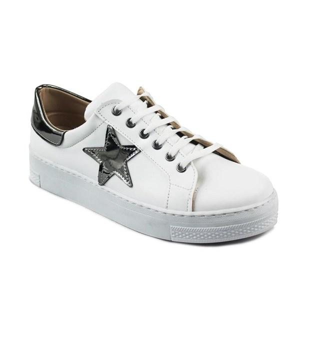 Beyaz Renk Günlük Bağcıklı Bayan Spor Ayakkabı 7778