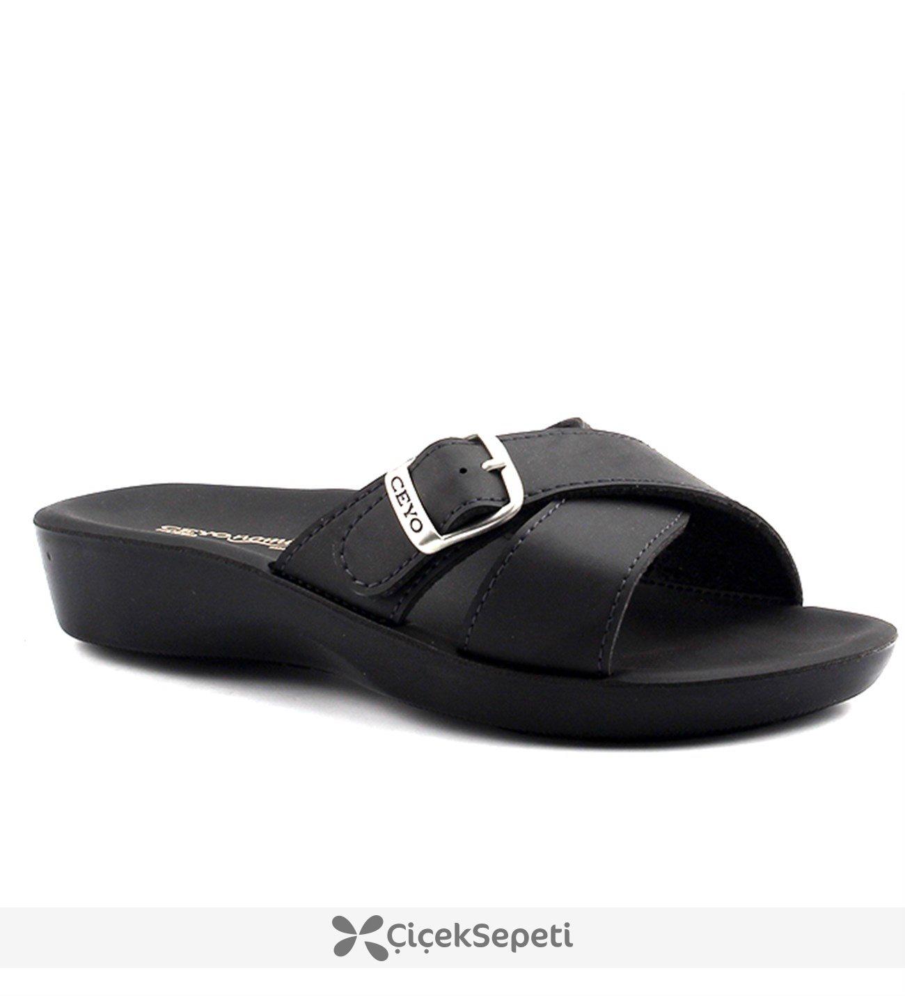 Ceyo Nomi Parma-2 Siyah Günlük Anatomik Bayan Terlik Ayakkabı