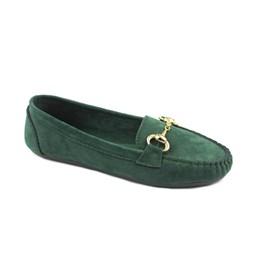 Yeşil Renk Zincir Tokalı Bayan Babet 7788