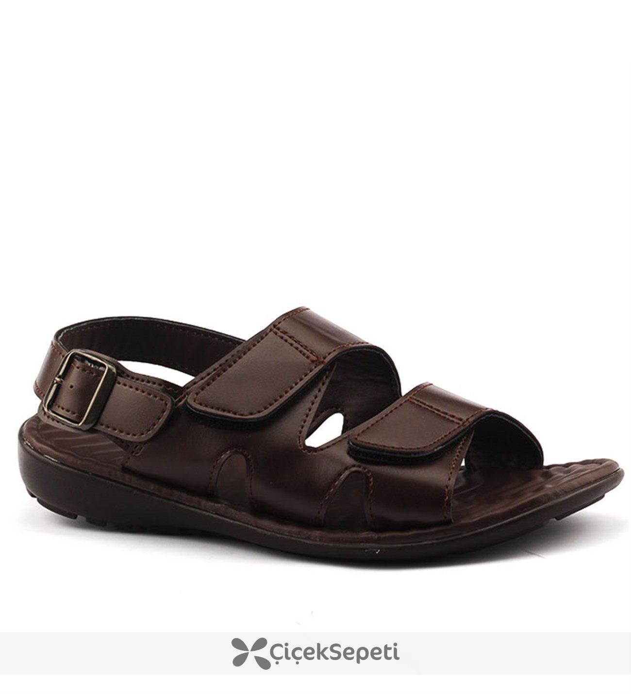 Muya 95030 Kahverengi Günlük Yumuşak Rahat Taban Erkek Sandalet Kahverengi