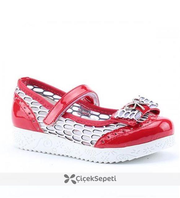 Pekçok 2300 Günlük Abiye Cırtlı Ortapedik Kız Çocuğu Babet Ayakkabı Kırmızı