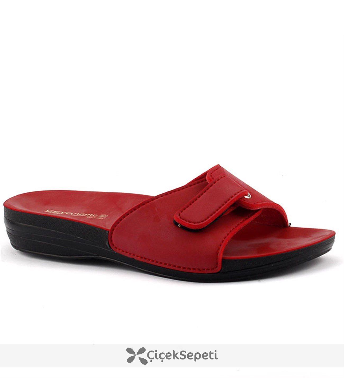 Ceyo Marina-1 Kırmızı Günlük Anatomik Bayan Terlik Ayakkabı