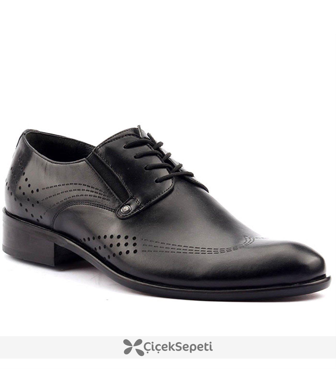 Alaca 2229 Siyah Günlük %100 Deri Neolit Taban Klasik Erkek Ayakkabı