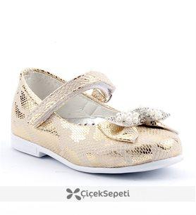 Sema 11 Günlük Abiye Cırtlı Kemerli Tokalı Kız Çocuk Babet Ayakkabı Altın