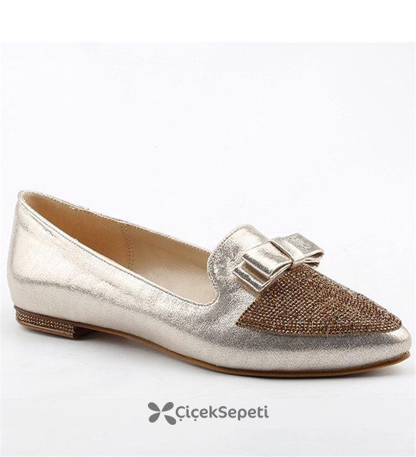 Christina Rose 207 Altın Büyük Numara Bayan Ayakkabı Abiye Gelin