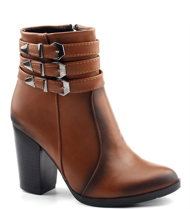 Ayakland 33 Acs Taba Günlük 85 Cm Topuk Bayan Cilt Bot Ayakkabı