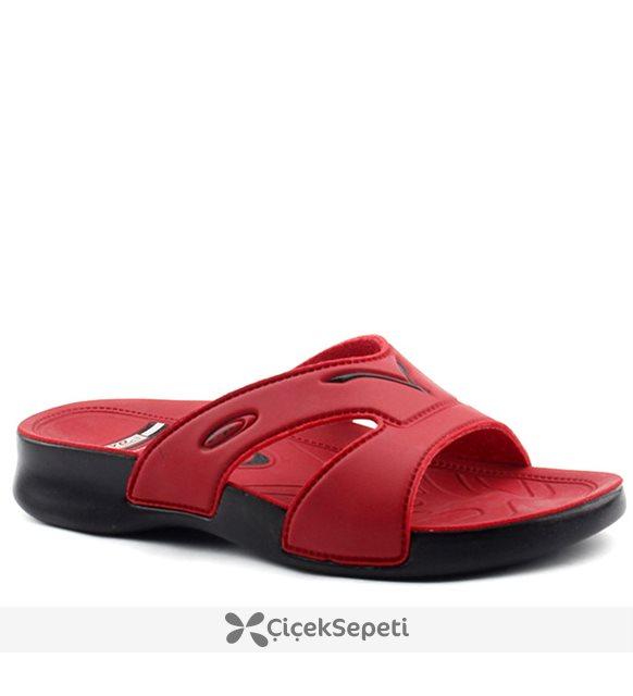 Ceyo 3400-2 Kırmızı Günlük Anatomik  Bayan Terlik Ayakkabı Kırmızı