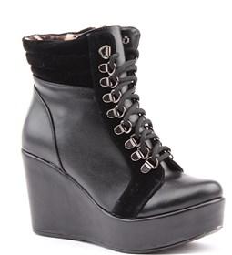 Siber 7154 Günlük Dolgu Topuk Termo Taban 9 Cm Bayan Bot Ayakkabı Siyah