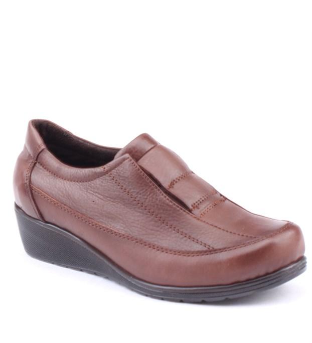Siber 7504 %100 Deri Günlük Ortopedik Bayan Ayakkabı Kahverengi