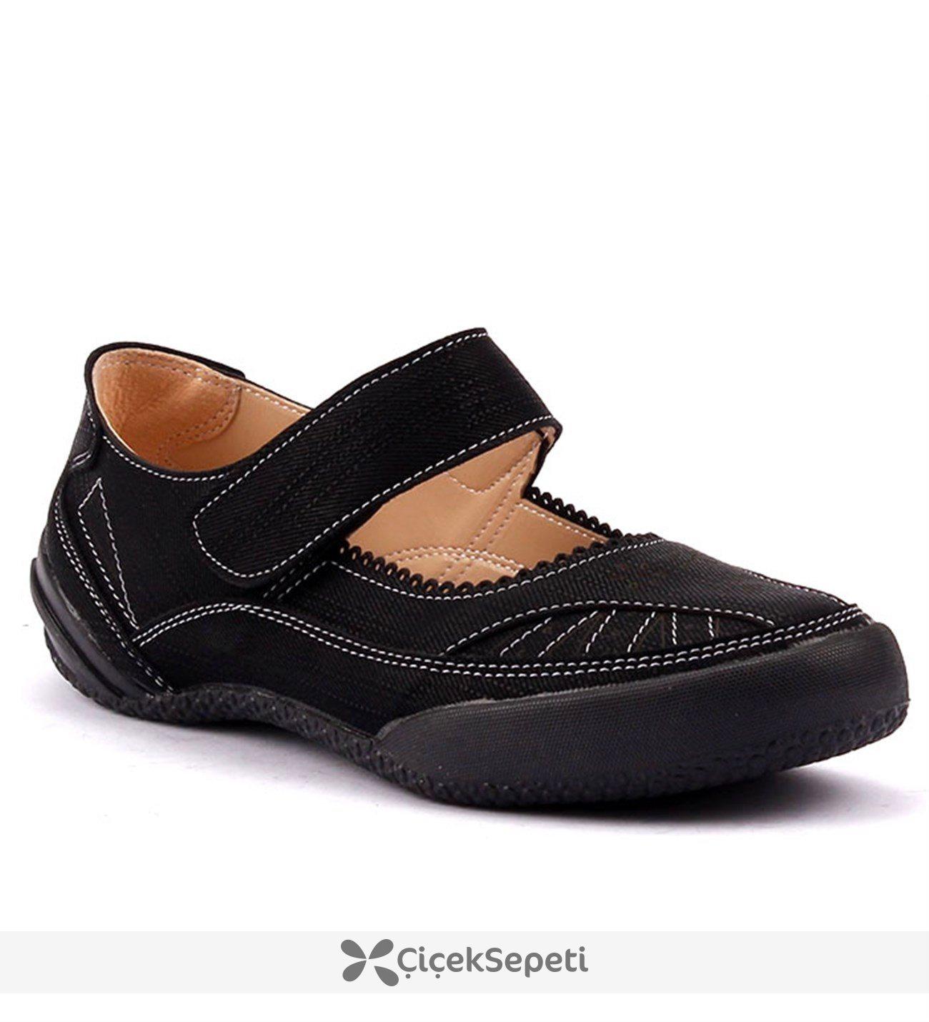 Caprito 436 Lacivert Cırtlı Ortopedik Yürüyüş Günlük Kadın Babet Ayakkabı