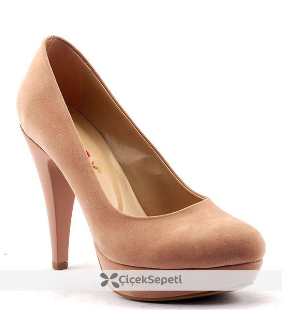Paddy 2735 Platform İnce Topuk Stiletto Abiye  Bayan Süet Ayakkabı Vizon