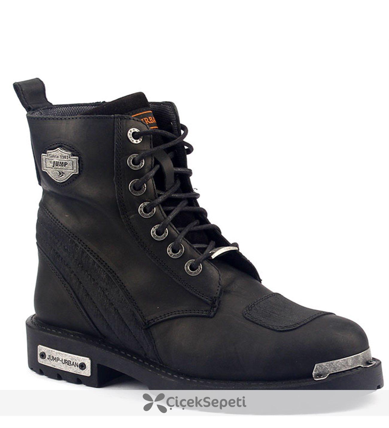 Jump 14505-B %100 Deri Motorcu Çizme Erkek Bot Ayakkabı Siyah