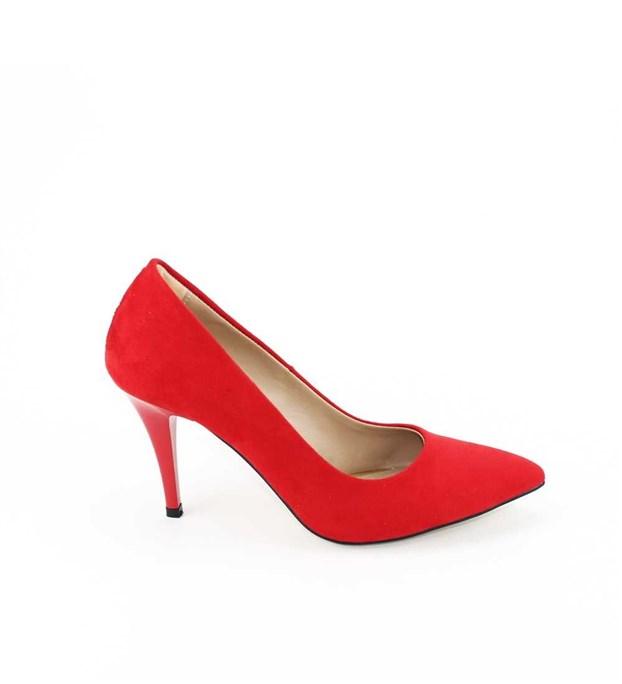 Kırmızı Süet Stiletto 8 Cm İnce Topuklu Bayan Ayakkabı