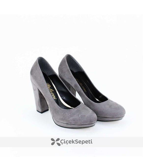 Platform Kalın Topuklu Bayan Ayakkabı Gri Süet Kibsac